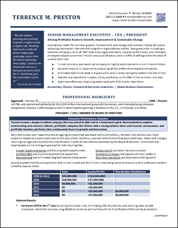 Ceo Resumes for your ceo and gm resume writing needs Manufacturing Resume For Ceo