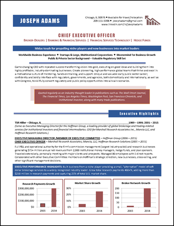 CEO Resume Example  Sample Ceo Resume
