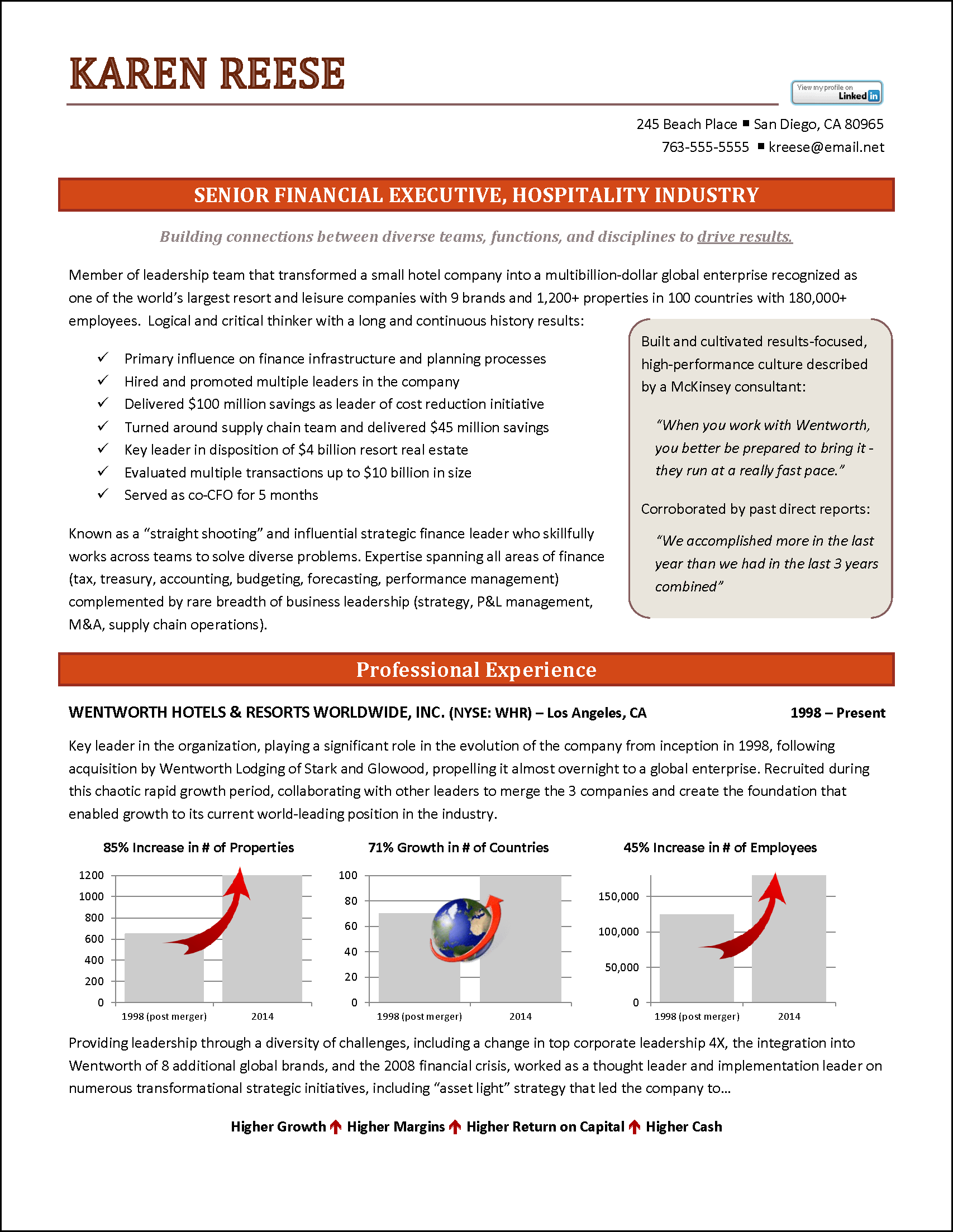 ExecutiveResumehospitalityPage1png – One Page Executive Summary Template