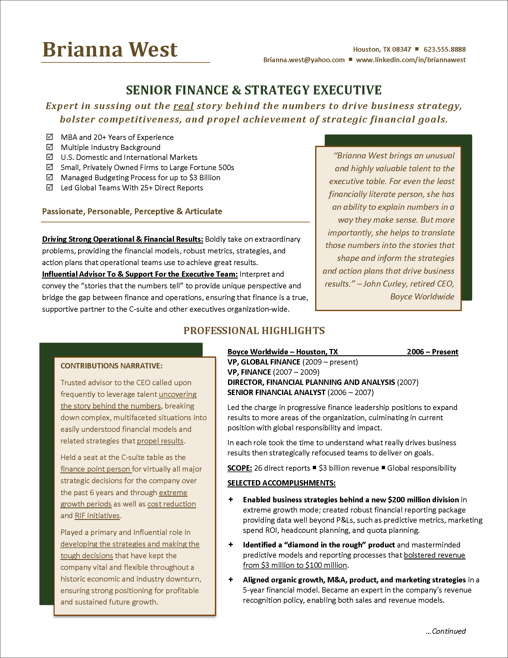 Executive Resume Finance Page 1