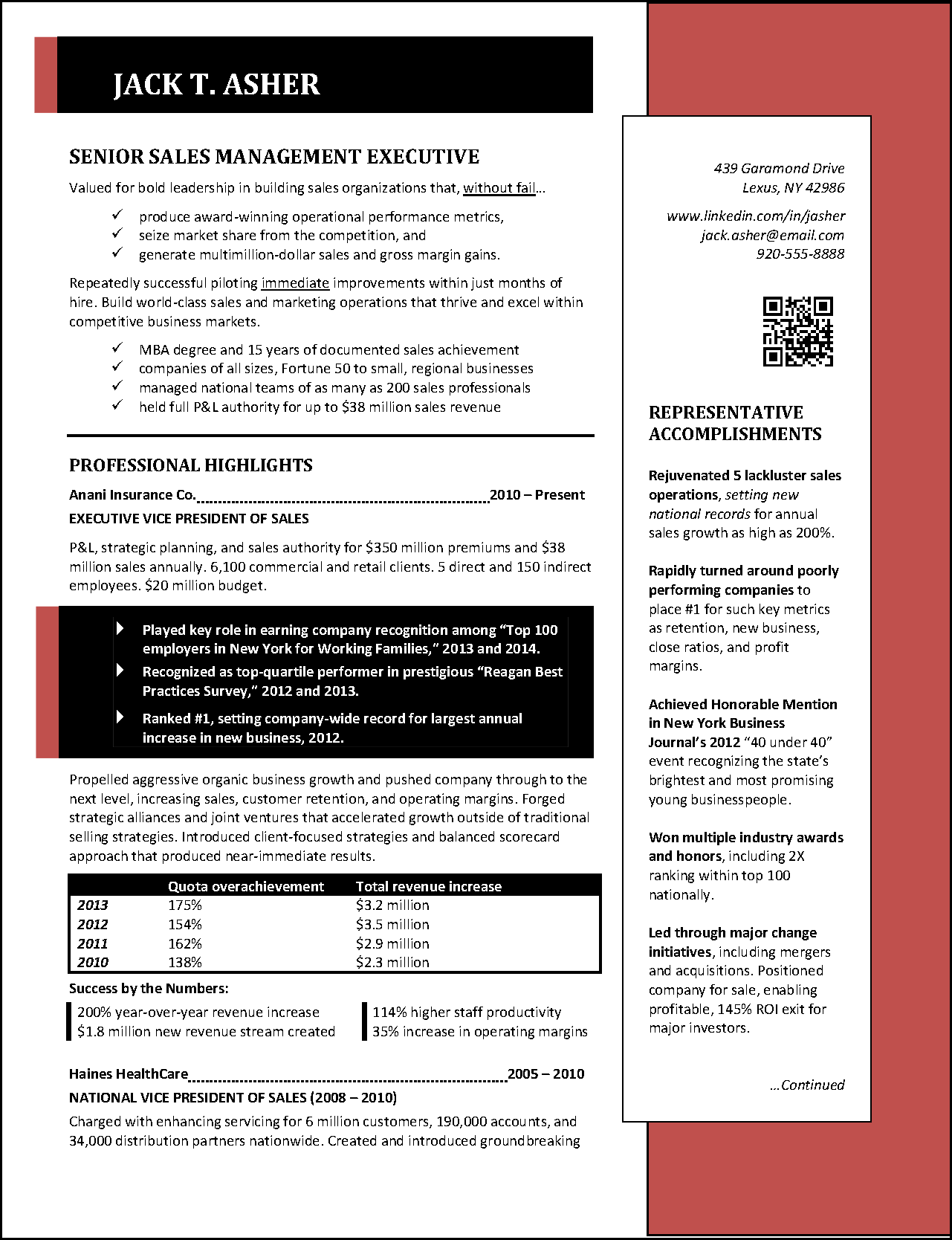 Executive Sales Resume Page 1 Png
