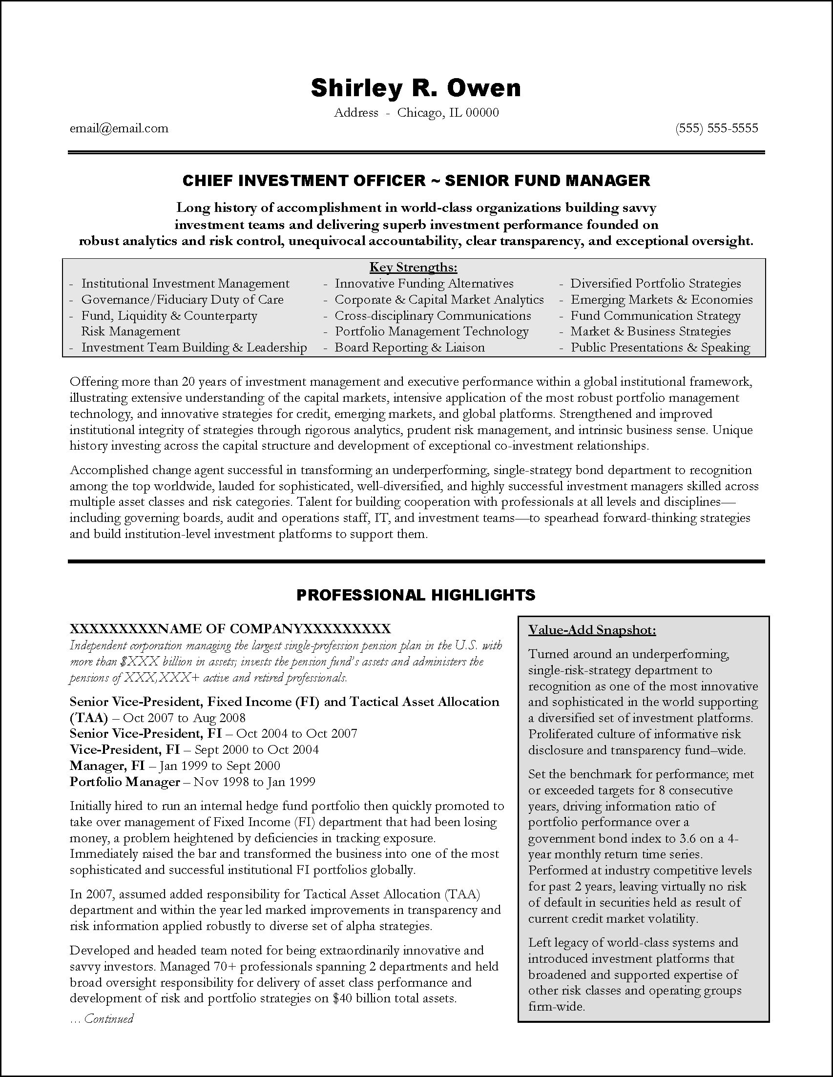 Chief Financial Officer Resume Sample – Senior Finance Executive