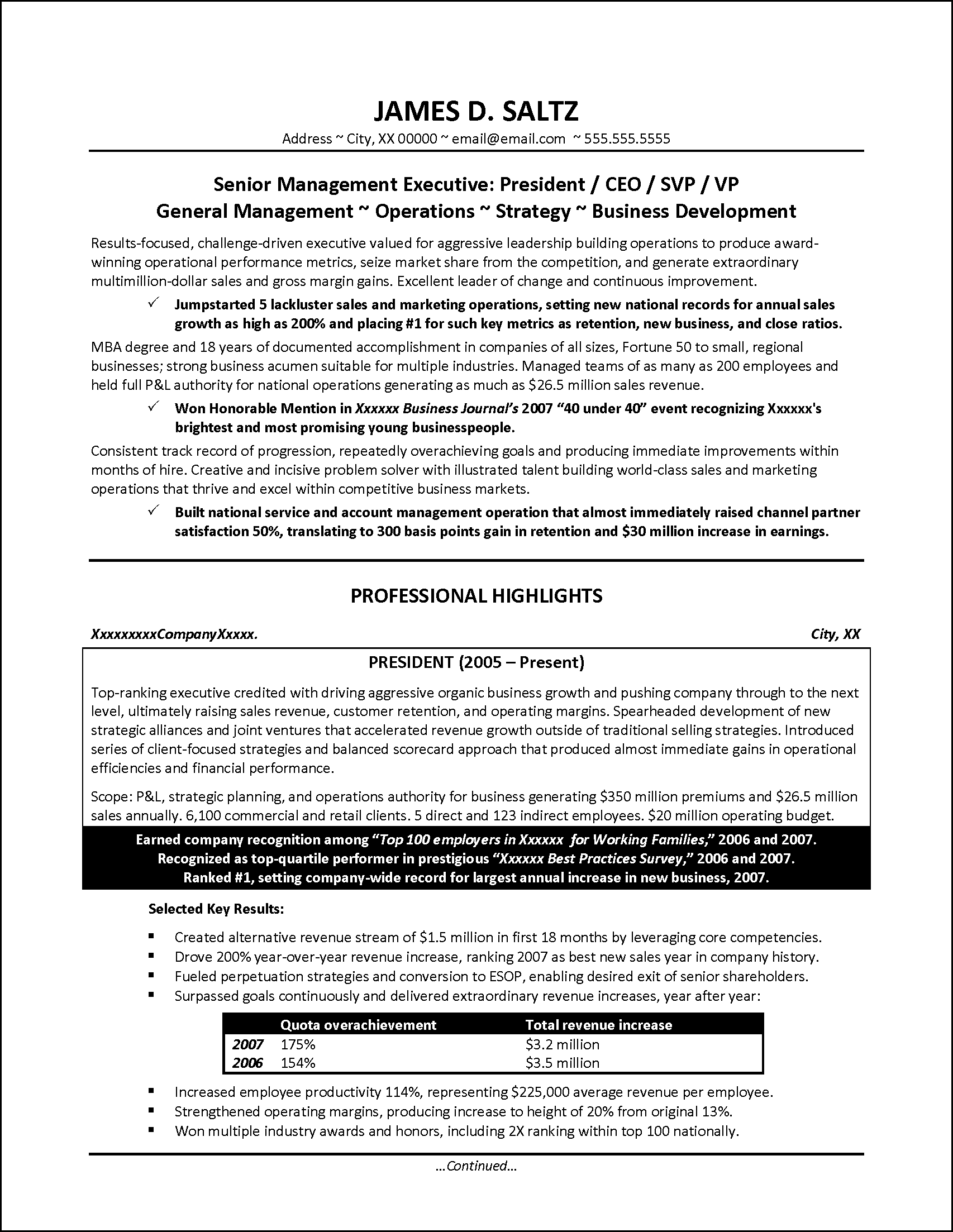 Senior Manager Resume Example