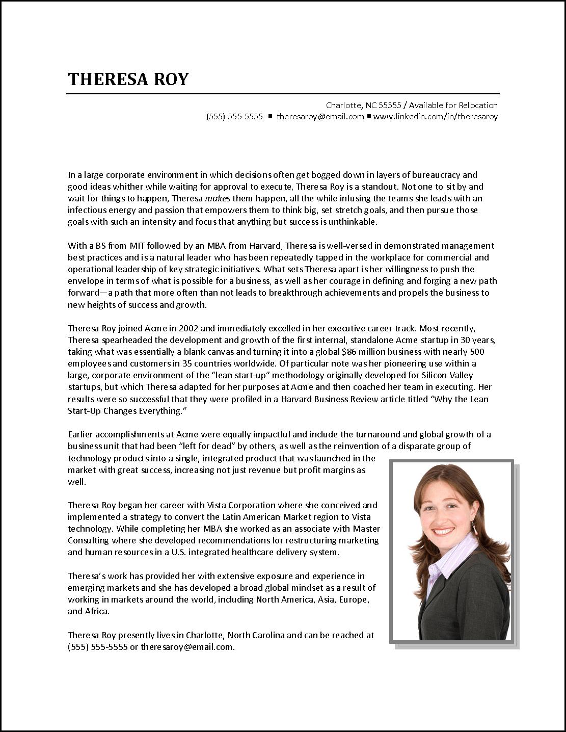 Executive Biography Example - Business Development Executive