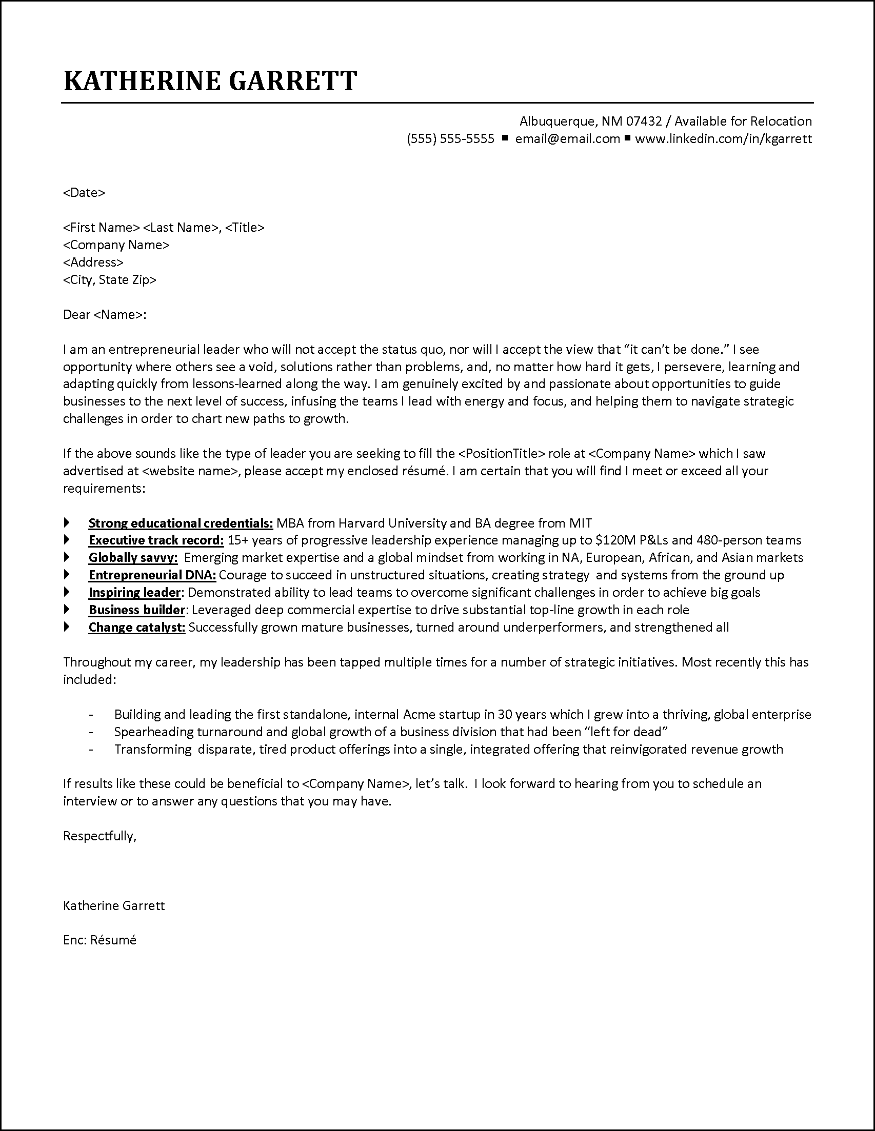 Cover Letter Example Executive Responds To Job Announcement