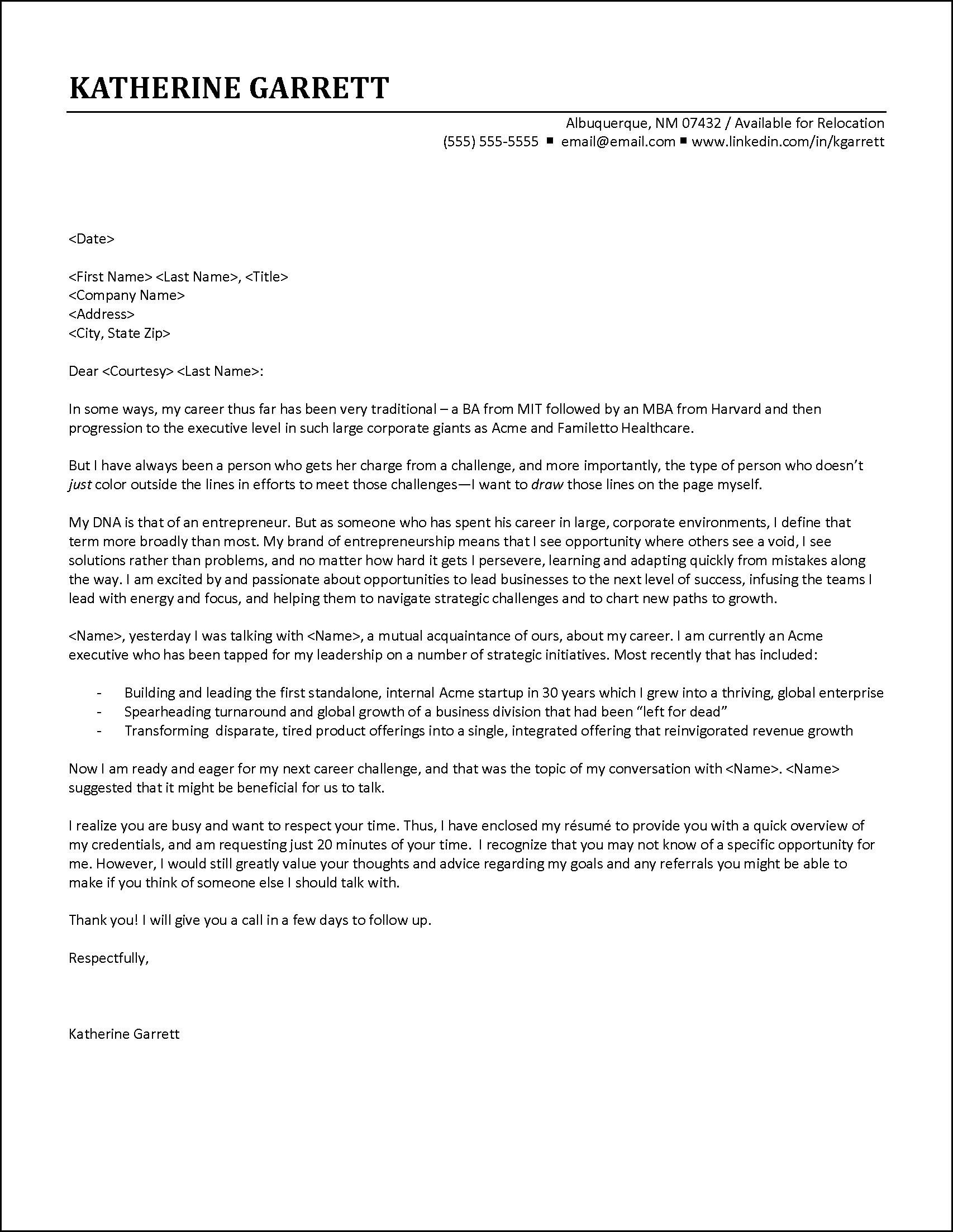Executive Cover Letter Example - Contact Based on Referral