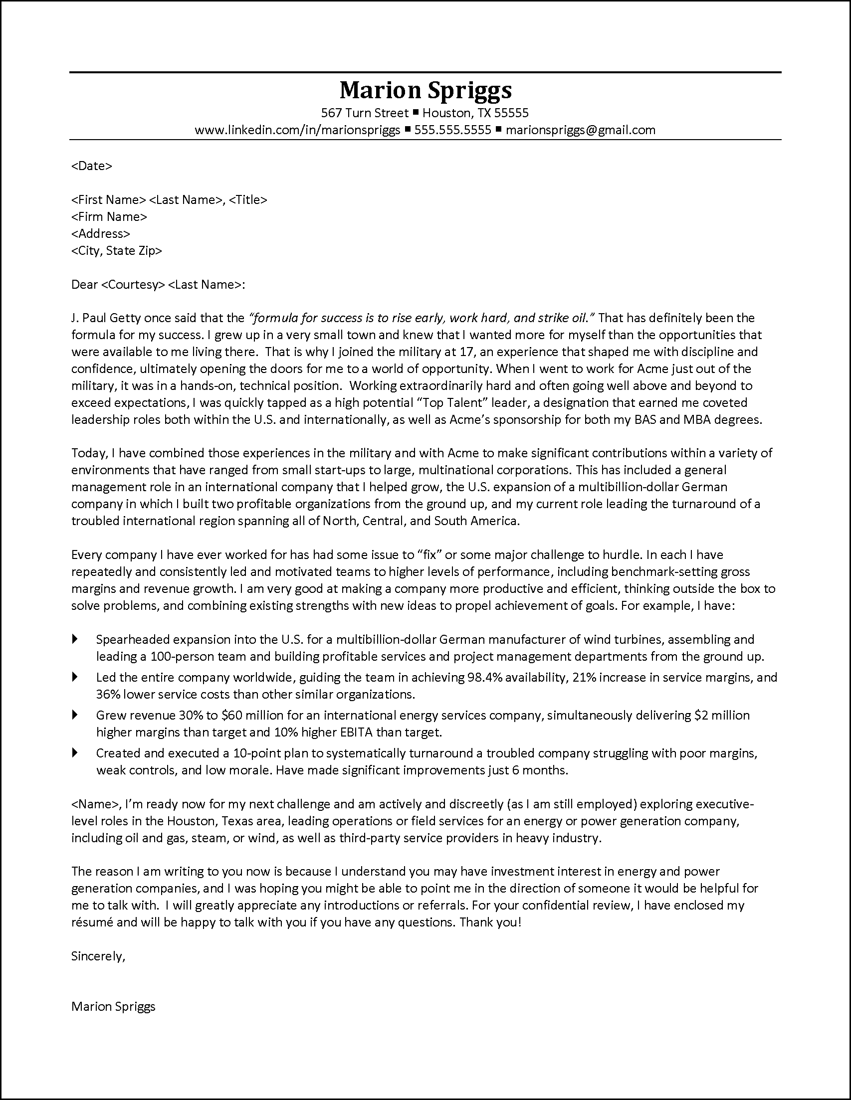 Executive Cover Letter Example to Venture Capital Firms