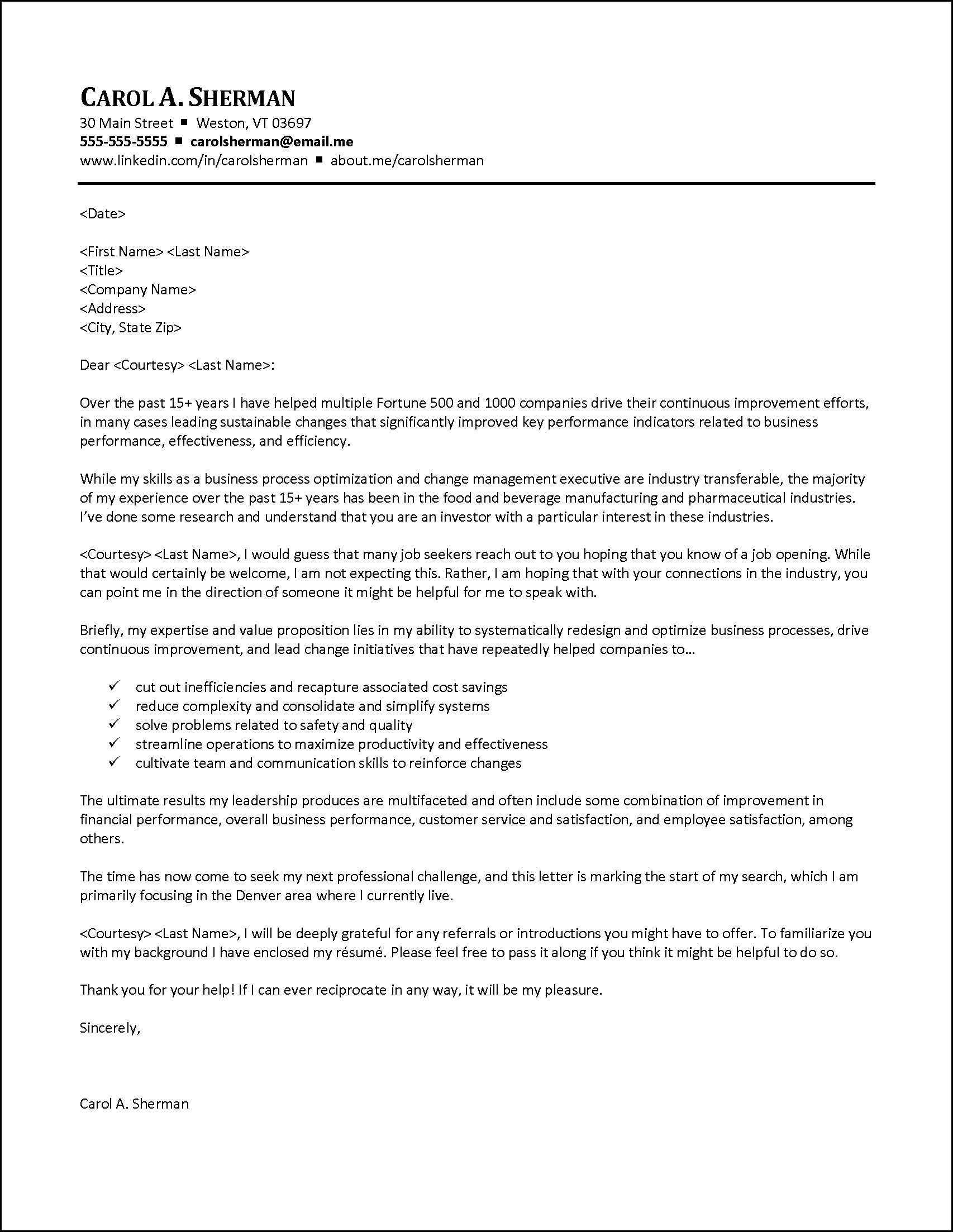 Example Cover Letter - Seeking Referrals