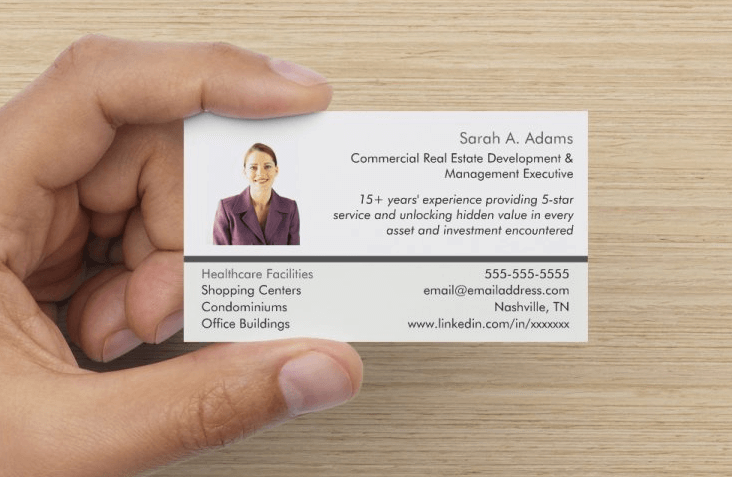 Example Job Search Networking Card - front