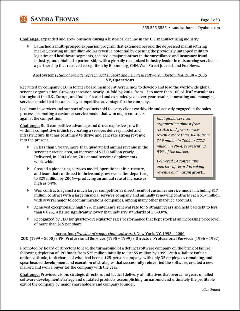 Example C-Level Executive Resume High-Tech pg 2