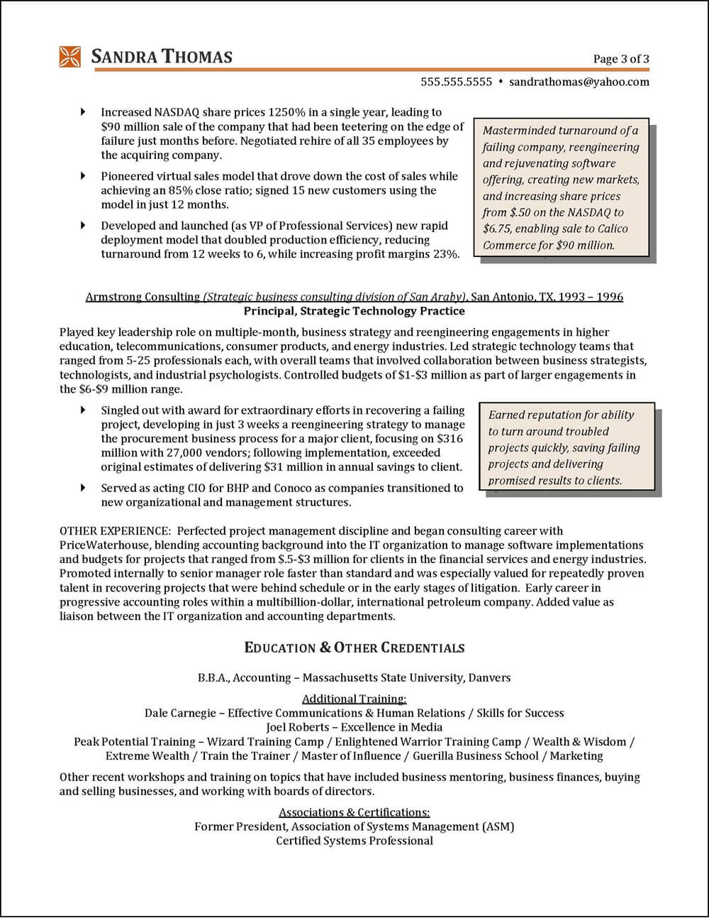 Example C-Level Executive Resume High-Tech pg 3