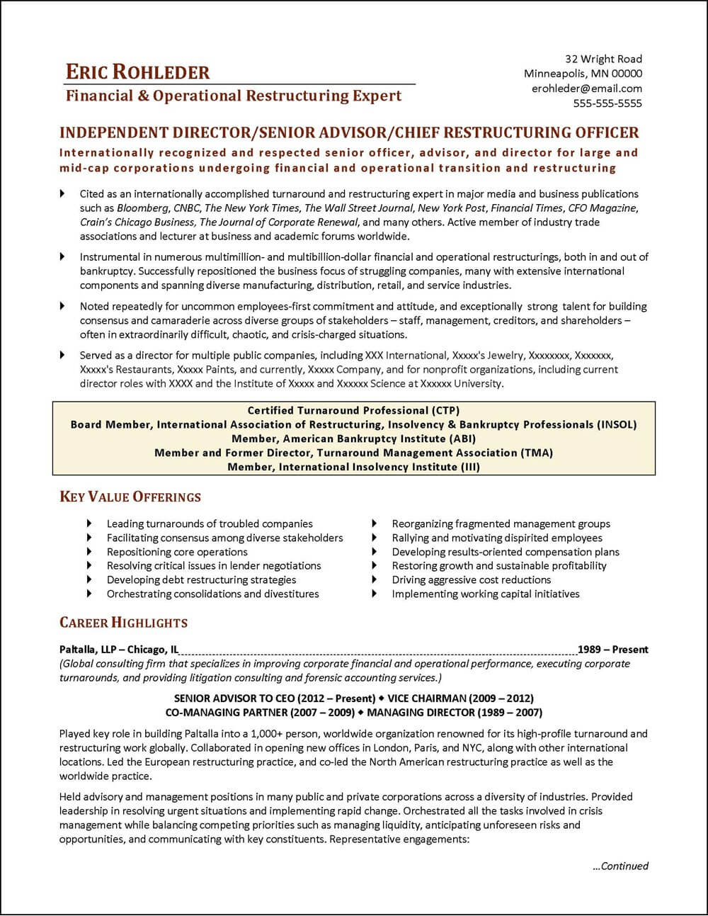 Chief Restructuring Officer Executive Resume - page 1