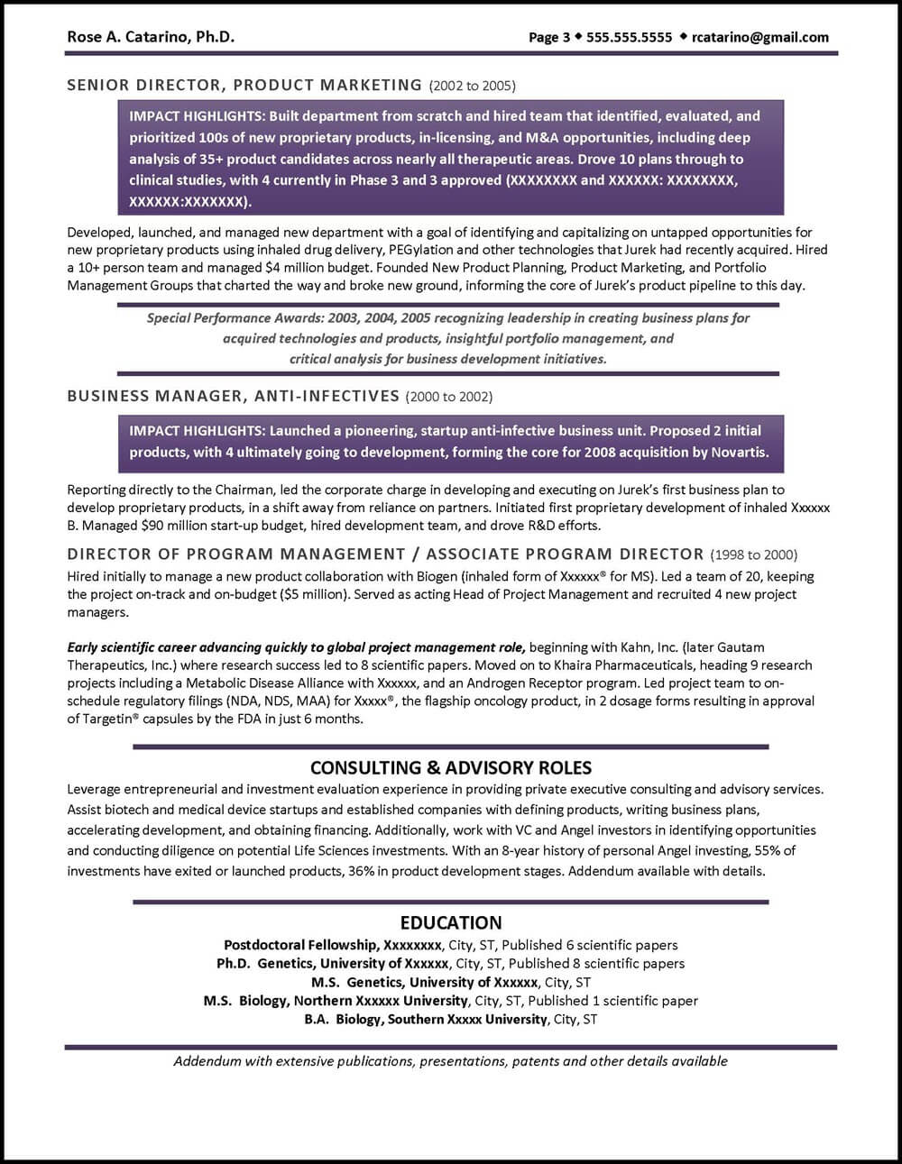 Example Executive Resume - Pharmaceutical Drug Development - pg3