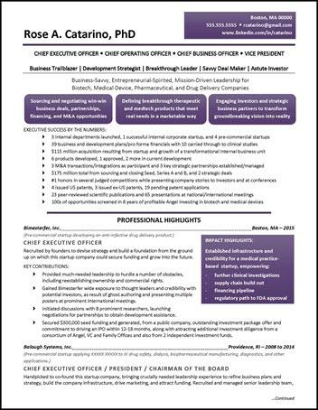 Drug Development Example Executive Resume