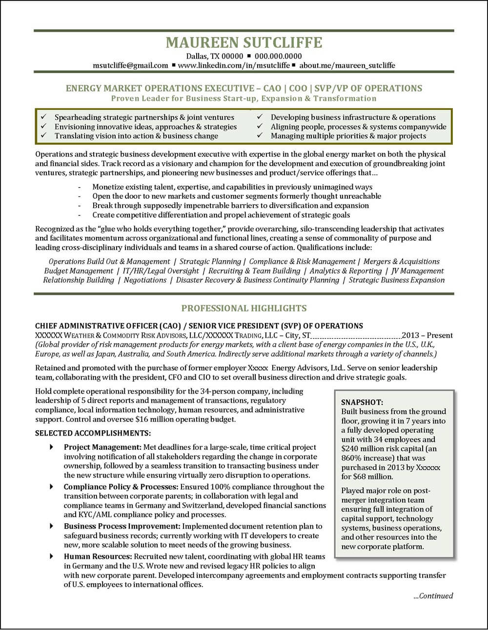 Example Energy Industry Executive Resume pg 1