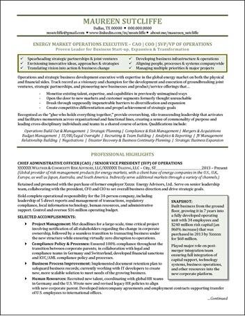 Energy Industry Executive Resume