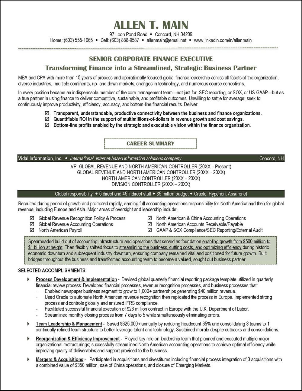 Example Corporate Finance Executive Resume pg 1
