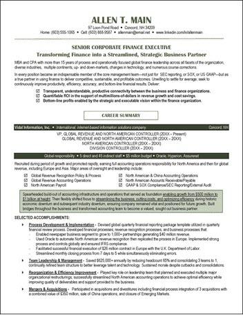 Finance Resume Example