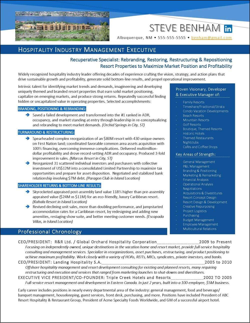 Example Hospitality Industry Executive Resume - page 1