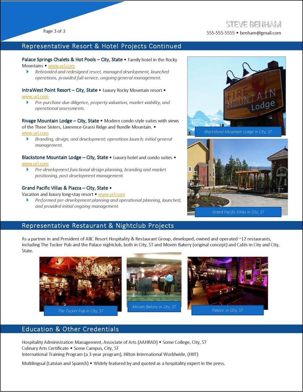 Example Hospitality Industry Executive Resume - page 3