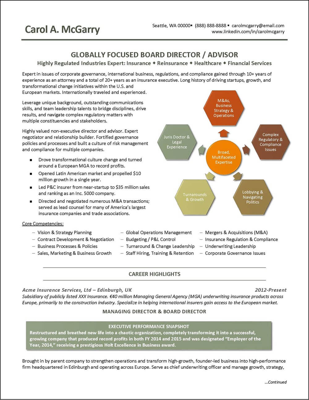 Insurance Industry Executive Resume - page 1