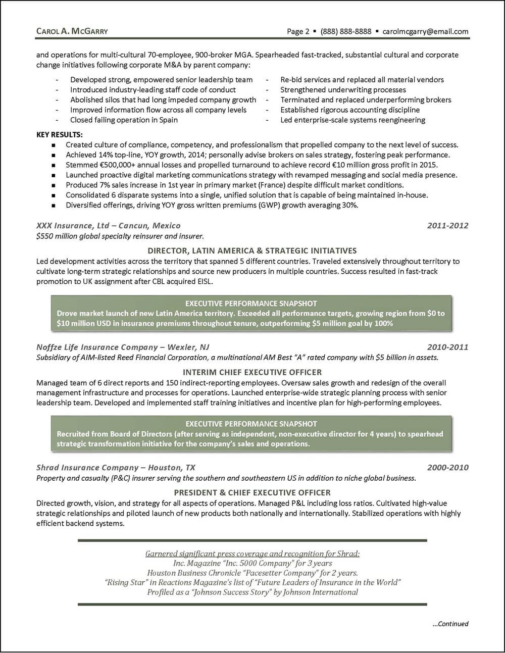 Insurance Industry Executive Resume - page 2