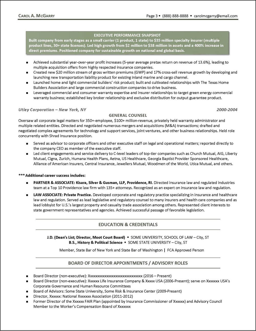 Insurance Industry Executive Resume - page 3