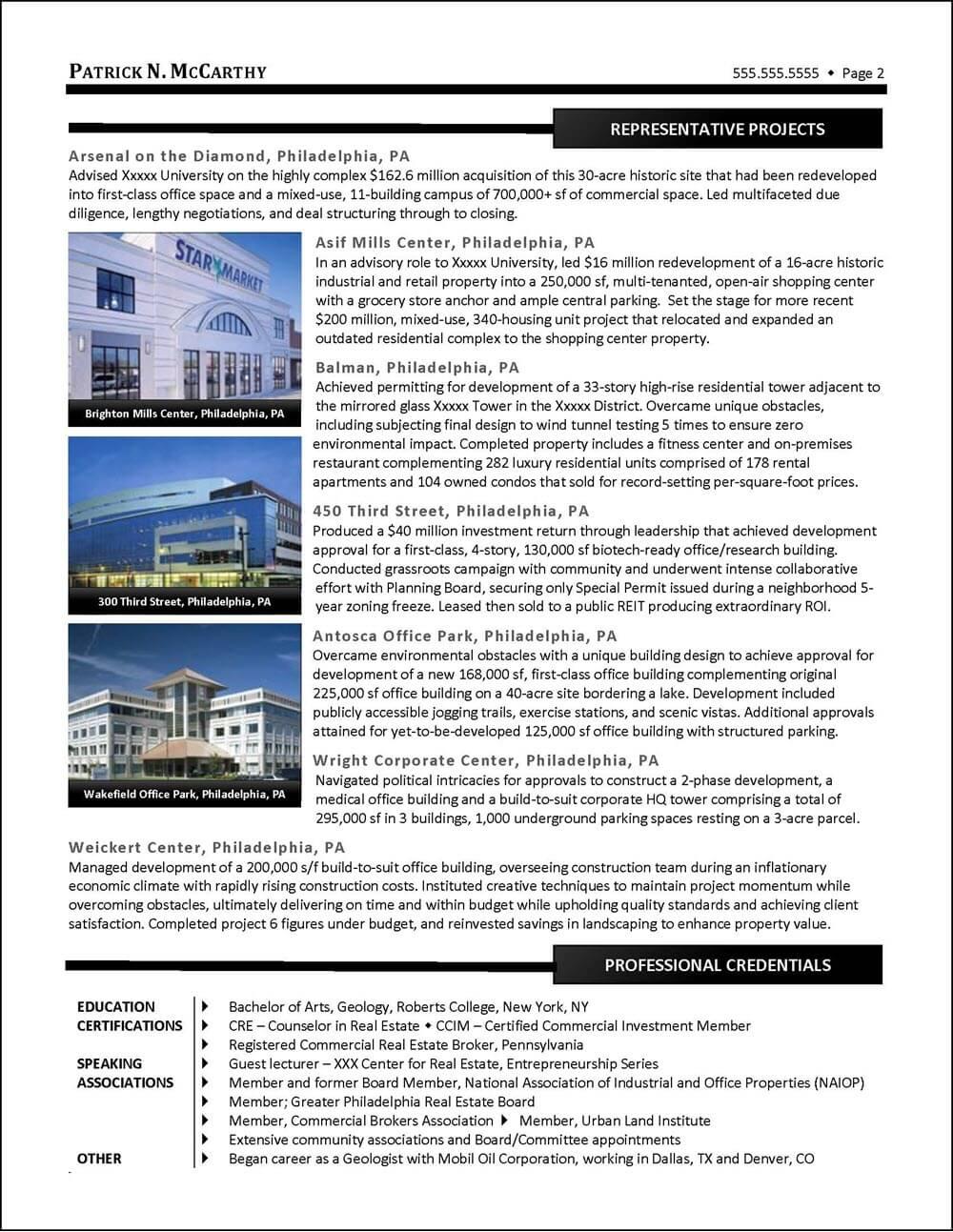 Example Executive Real Estate Developer Resume pg 2