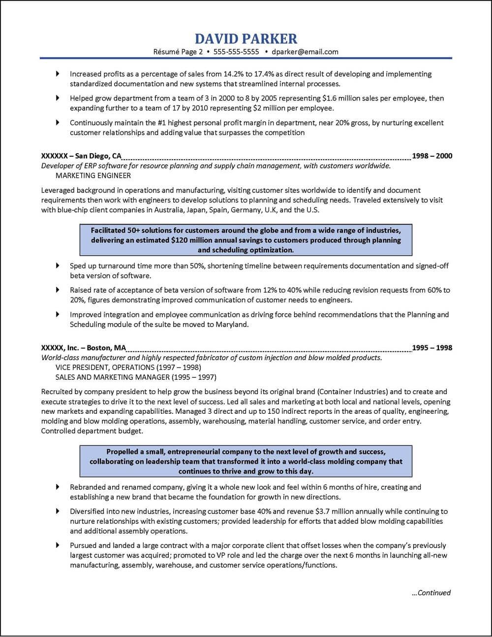 Example Sales Engineering Executive Resume pg 2