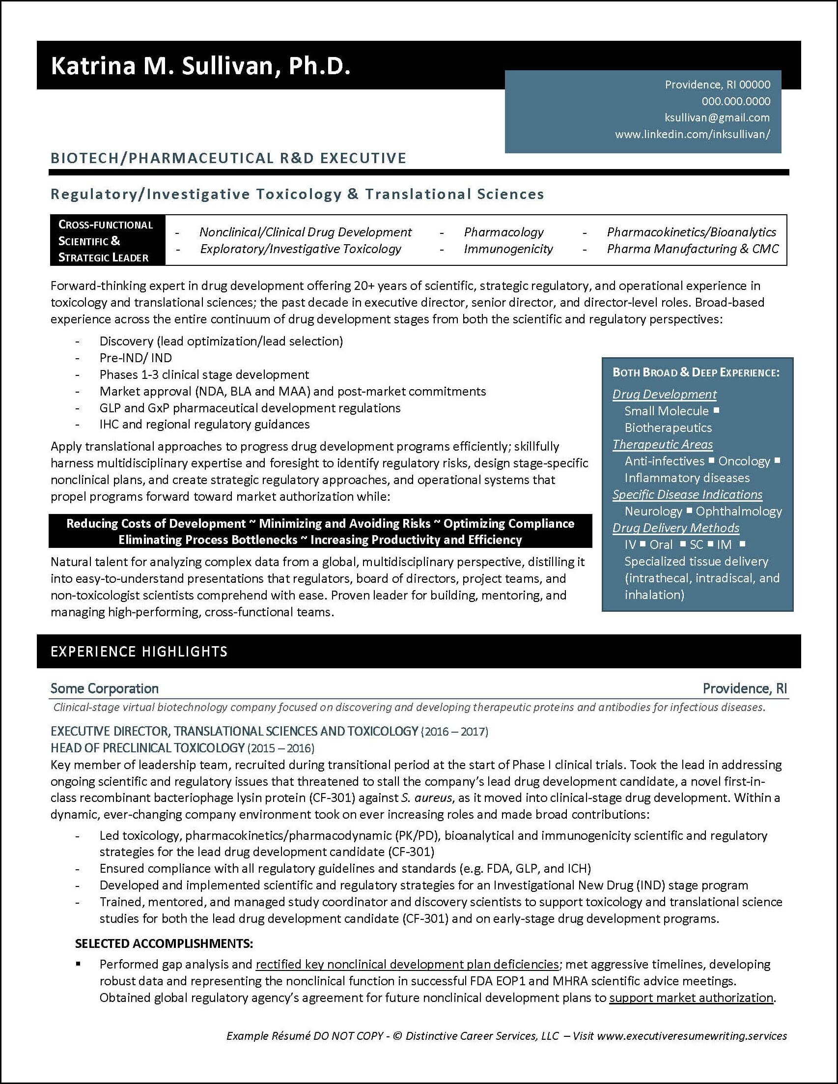 Example Executive Resume - Biotech R&D - pg1