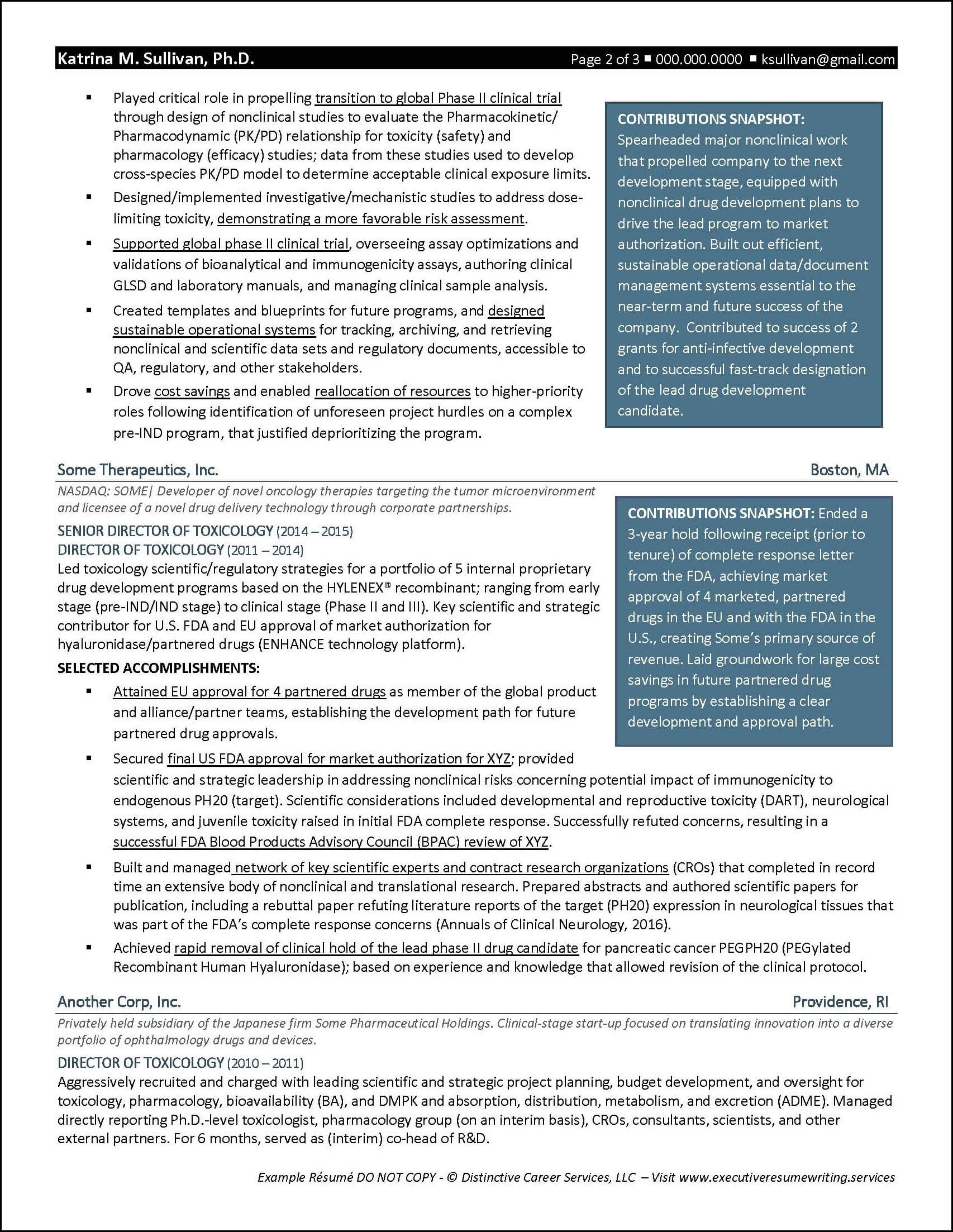 Example Executive Resume - Biotech R&D - pg2