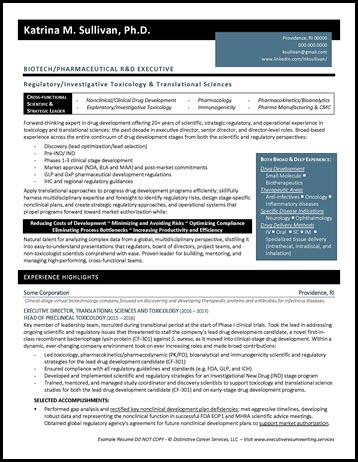 Biotech/Pharmaceutical R&D Example Resume