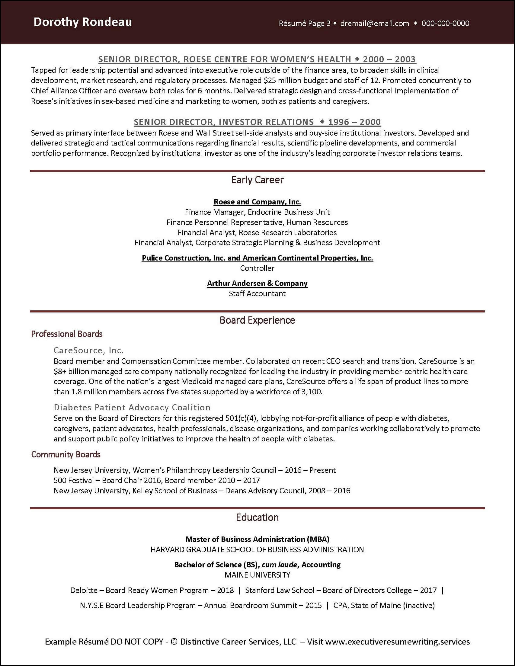 Example Corporate Finance Executive Resume pg 2