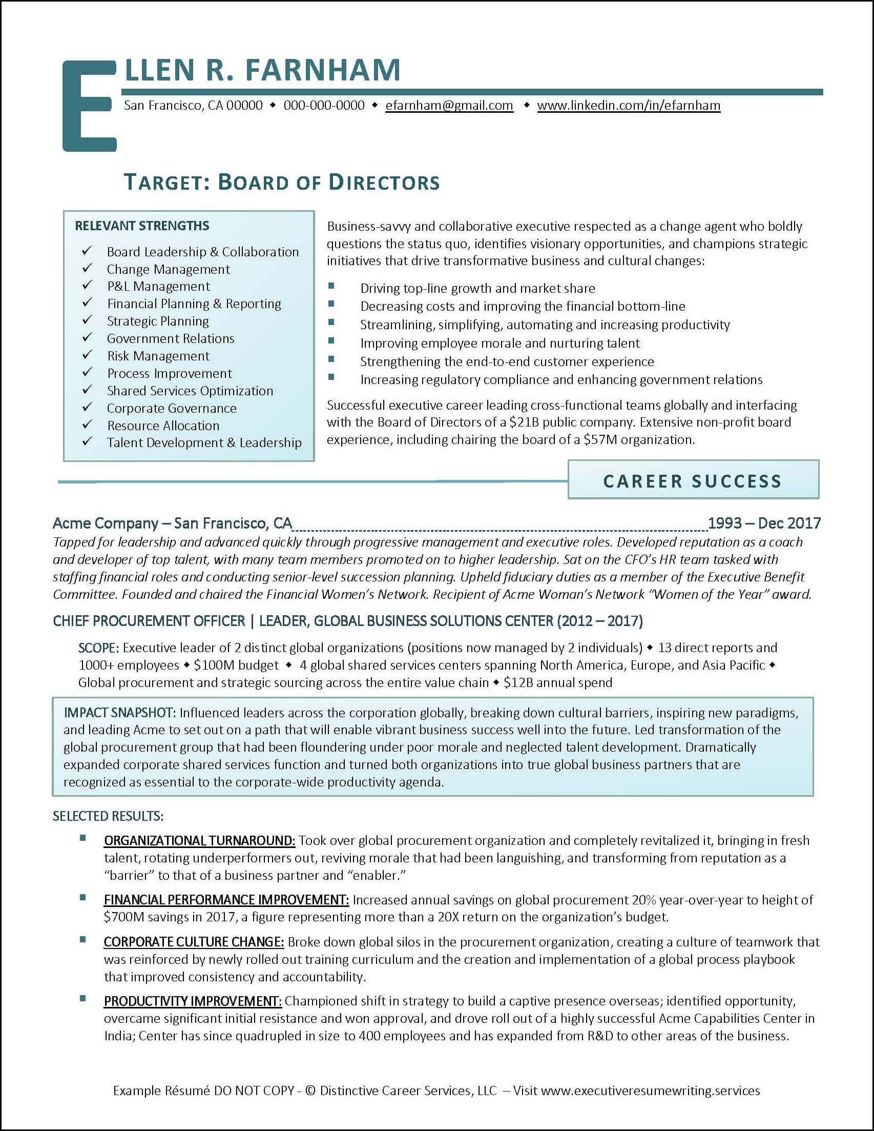 Example Board of Directors Resume pg 1