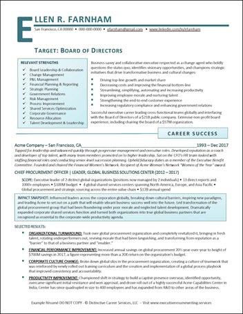 Example Board of Directors Resume