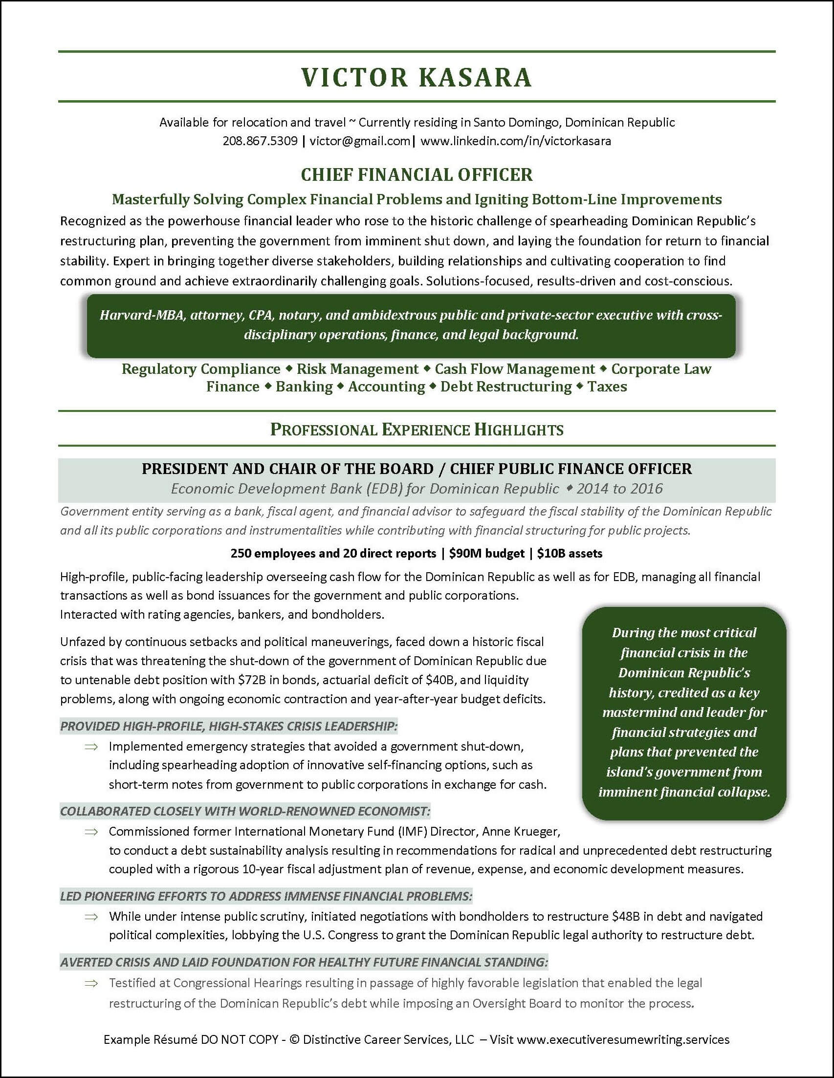 Chief Financial Officer Resume Page 1