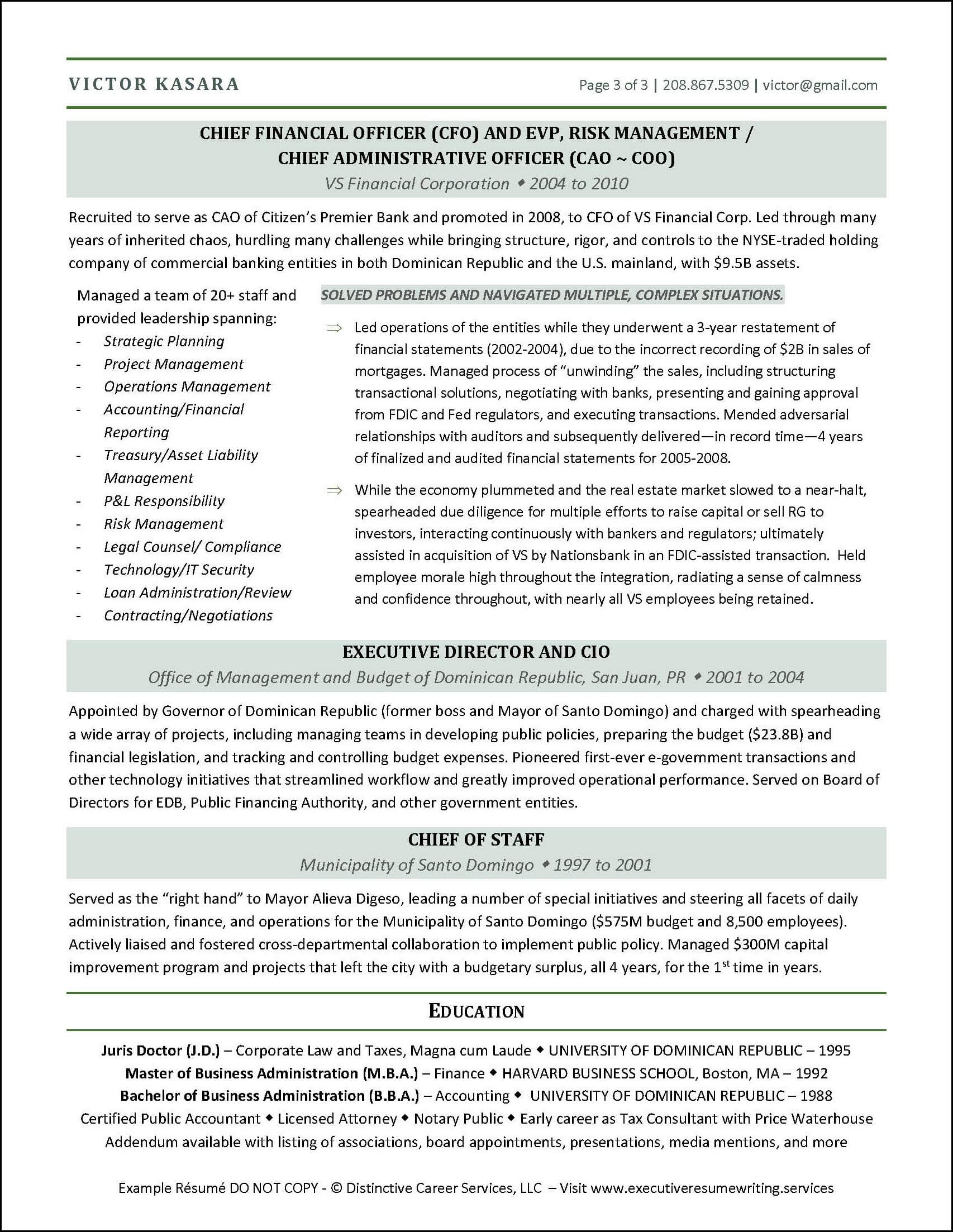 Example CFO Executive Resume pg 2