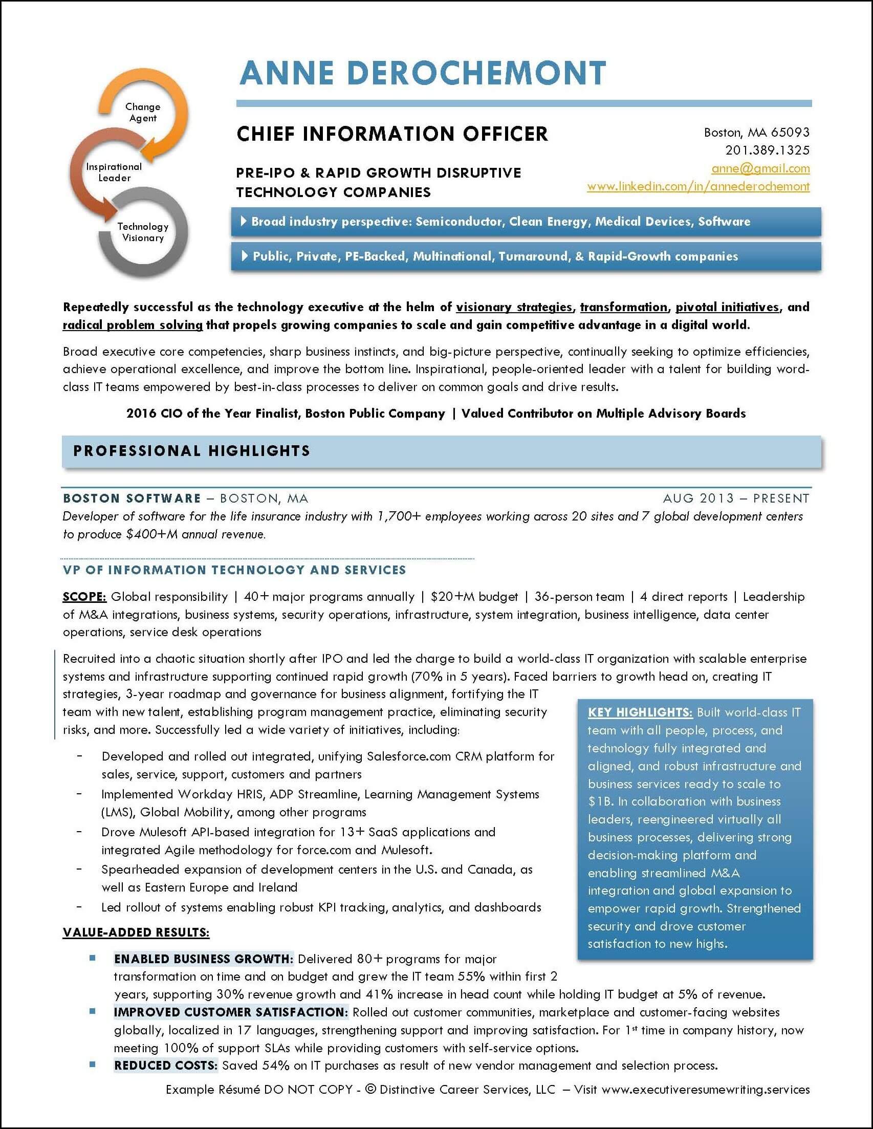 Example Executive Resume - CIO- pg1
