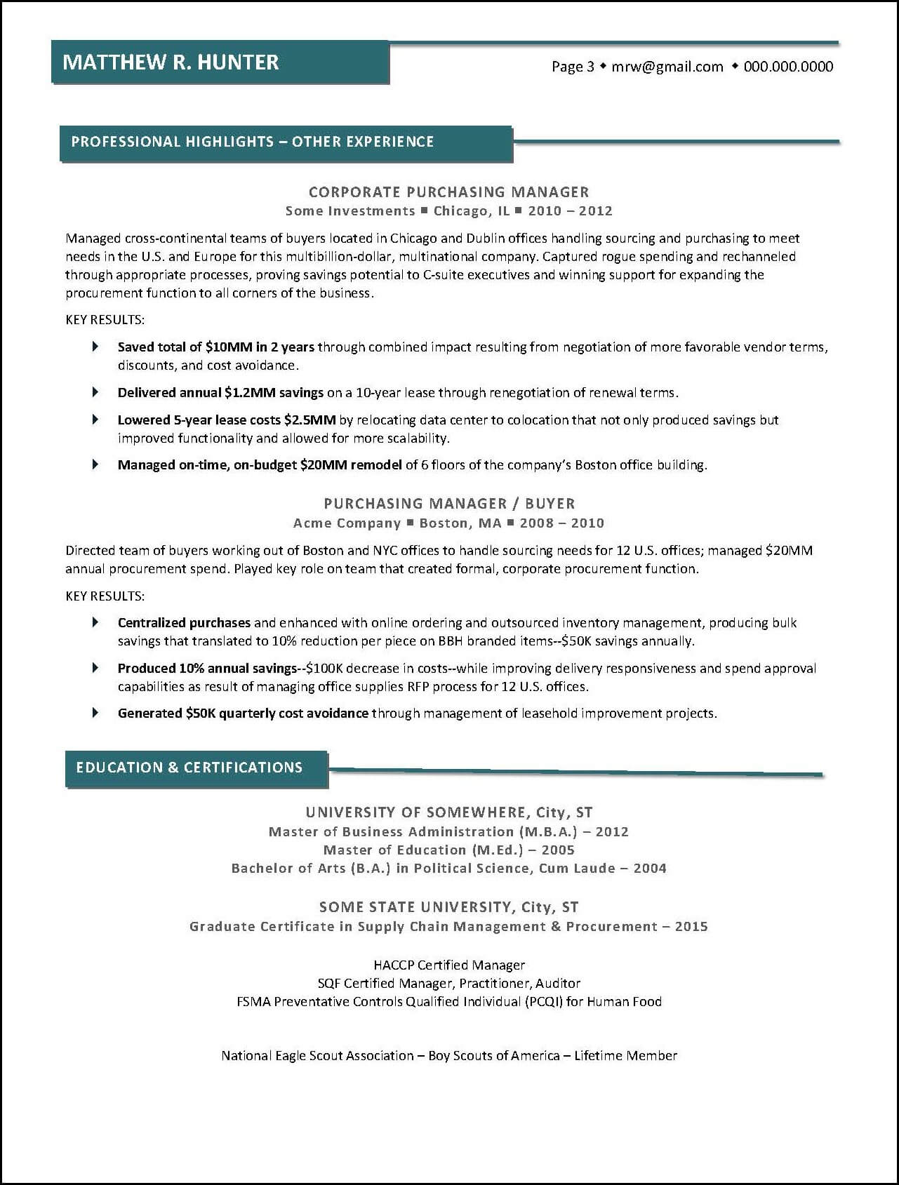 Example Executive Resume Diverse Career Page 3