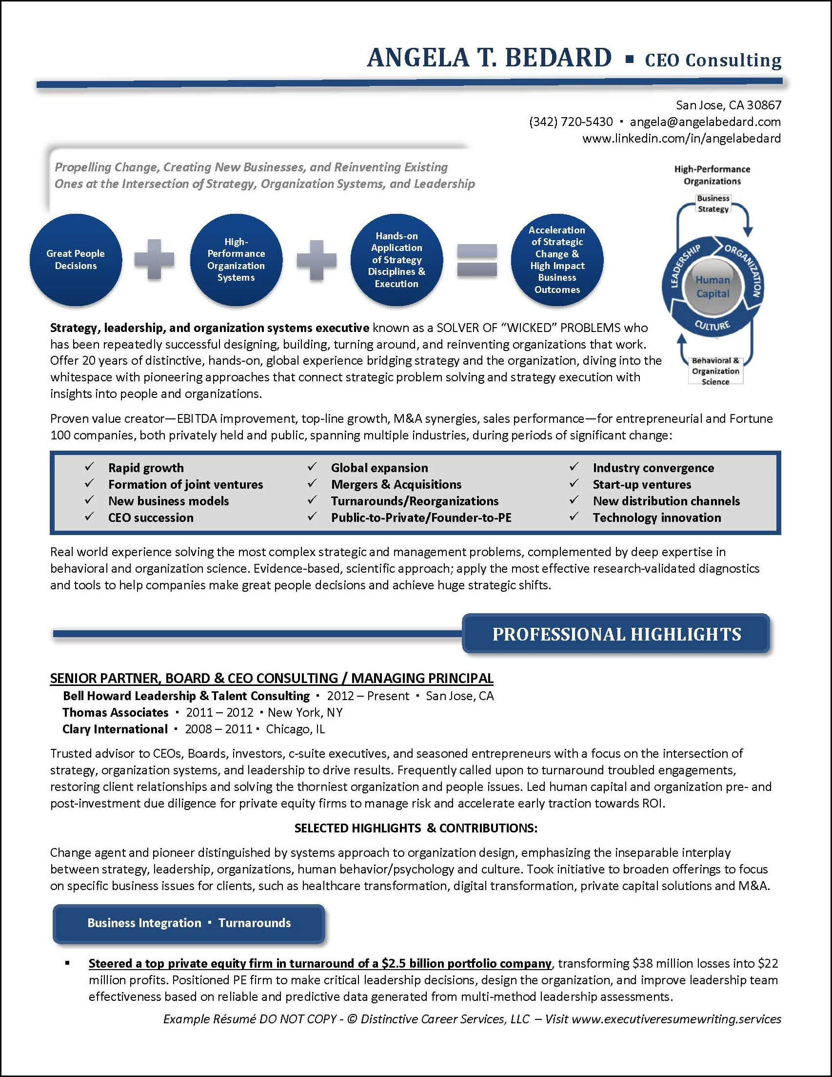 Example Management Consulting Executive Resume pg 1