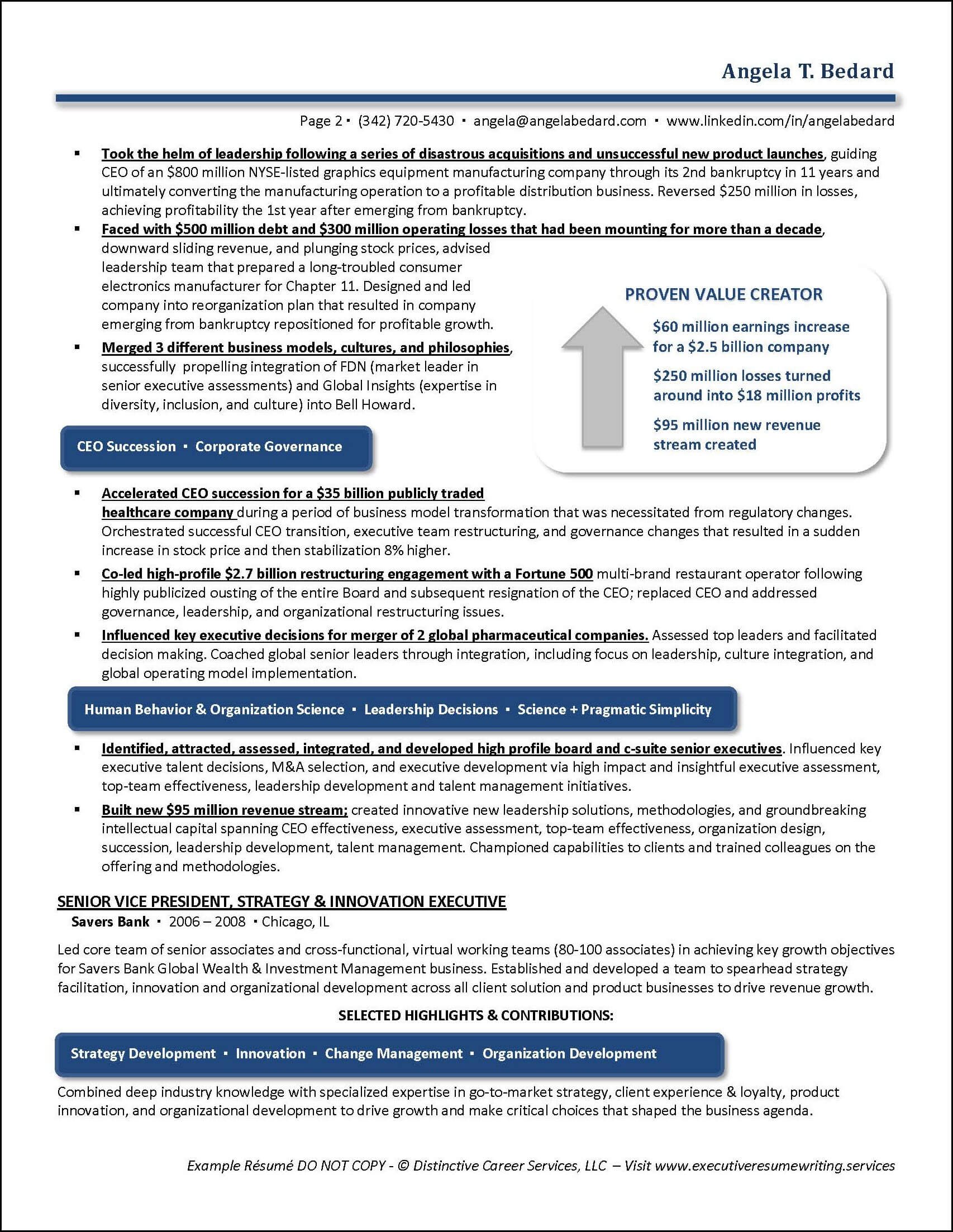 Example Management Consulting Executive Resume pg 2