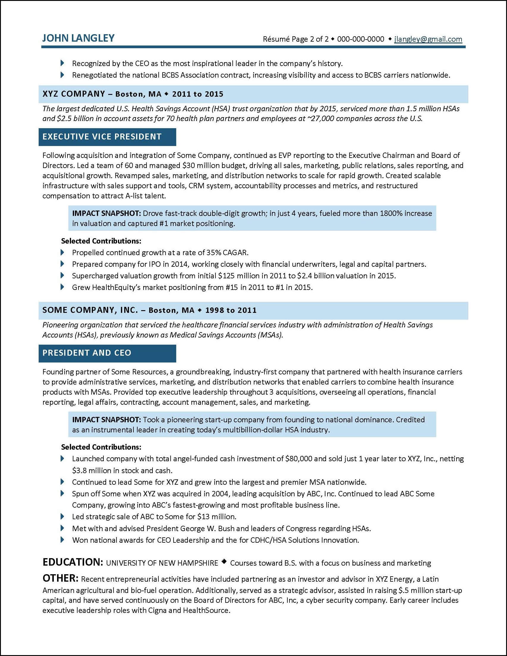 Example Insurance Industry Executive Resume pg 2