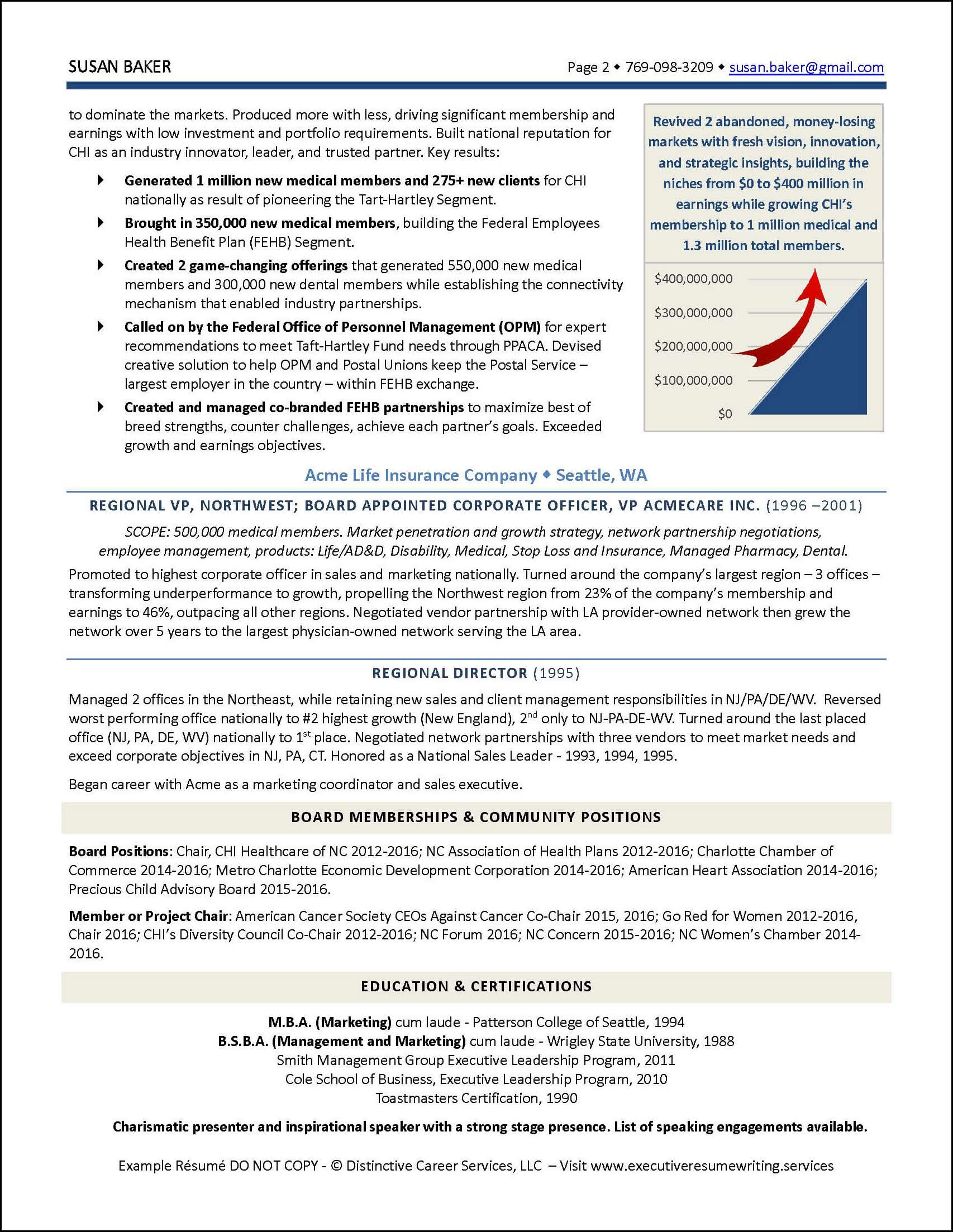 Example CEO-President-GM Executive Resume pg 2