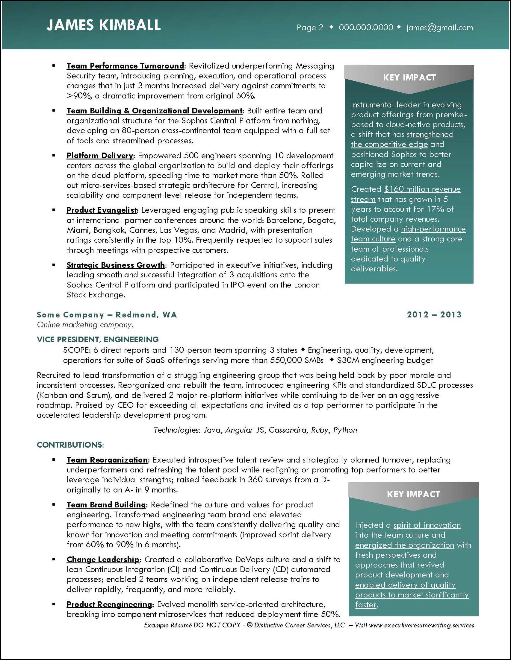 Example Product Engineering Executive Resume pg 2