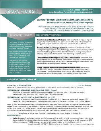 Product Engineering Executive Example Resume