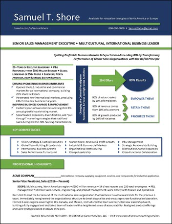 Example Sales Management Executive Resume